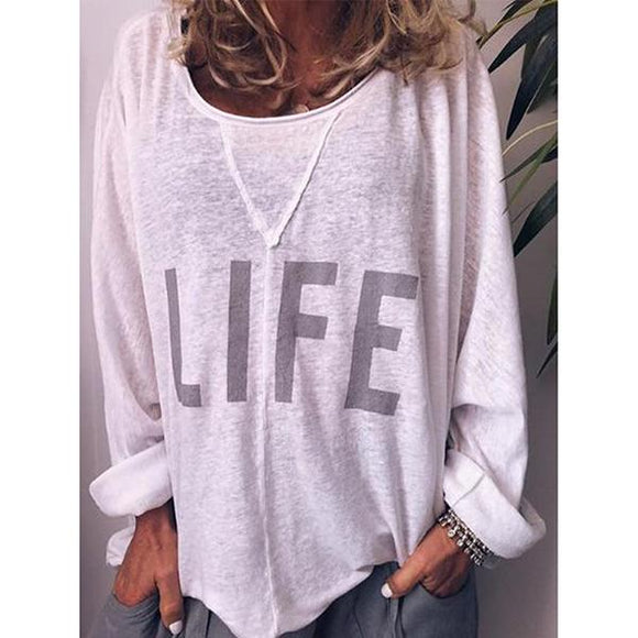 White Casual Round Neck Long Sleeve Printed Blouse