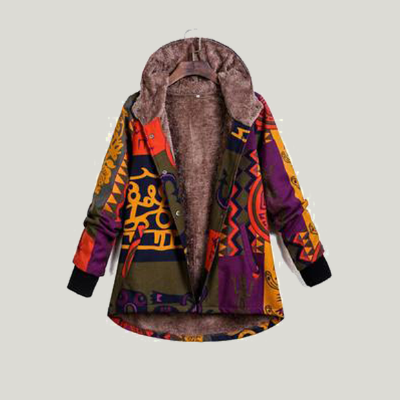 Plus Velvet Thick Long-Sleeved Hooded Single-Breasted Multi-Color Printed Coats