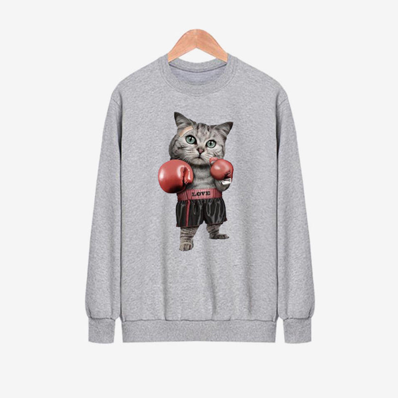 Casual Cat Pattern Loose Long Sleeve O-neck Women Blouses