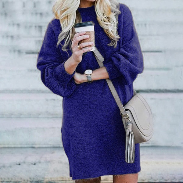 Women Long Sleeve Round Neck Sweater Dresses