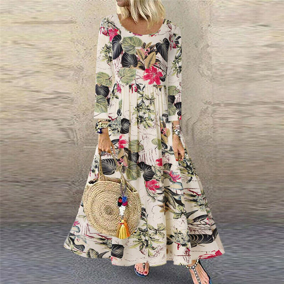 Vintage Floral Print Long Sleeve Crew Neck Dresses