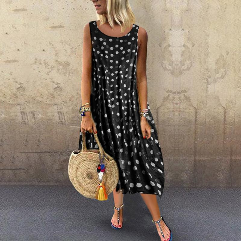 Bohemian Polka Dot Round Neck Sleeveless Dress