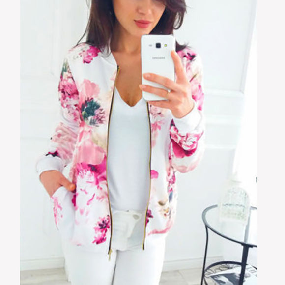 Color Printed Zipper Personality Cardigan Coats