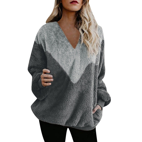 V-neck Patchwork Loose Long-sleeved Sweater