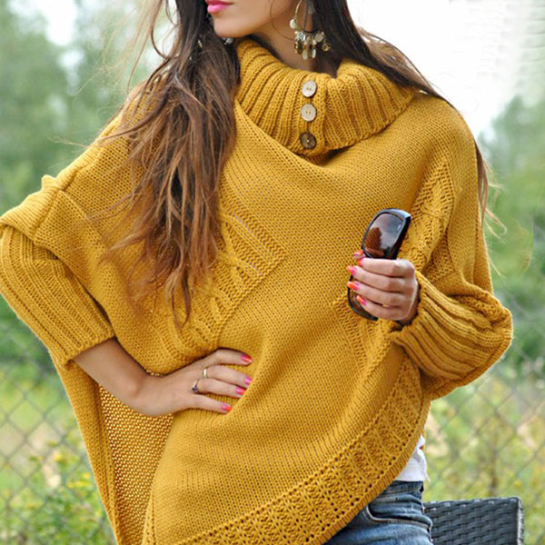 Women's Mid-length High Round Neck Loose Sweater
