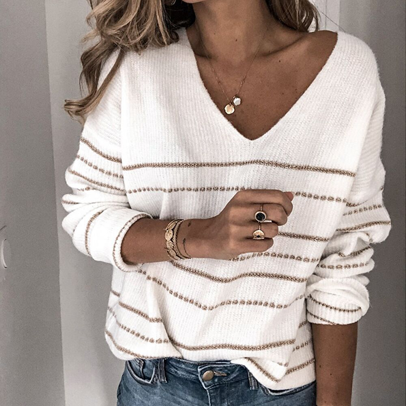 Solid Color Sweater Casual Striped V-neck Tops