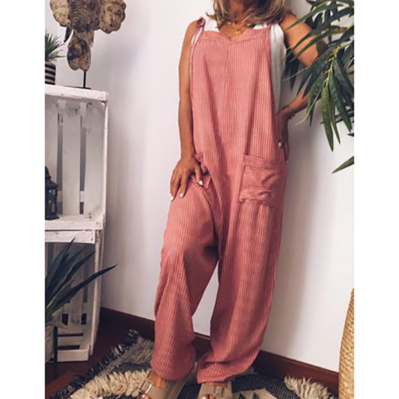 Solid Color Sleeveless Daily Jumpsuits