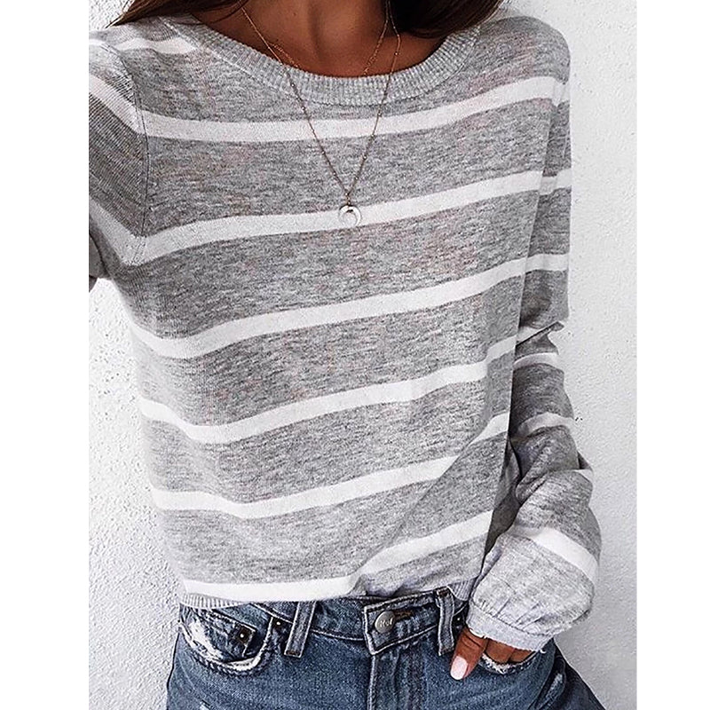 Casual Loose Round Neck Stripe Blouse