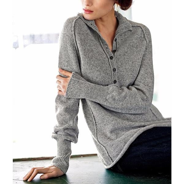 Casual Turndown Collar Solid Knit Sweaters