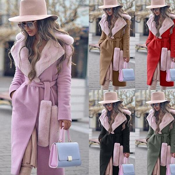 Plush Collar Wool Long Women's Coat