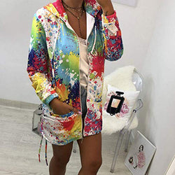 Fashion Printed Long Sleeve Hooded Coats
