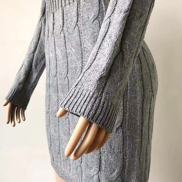 Mid-Length Sweater  Bag-Hip Skinny Dresses