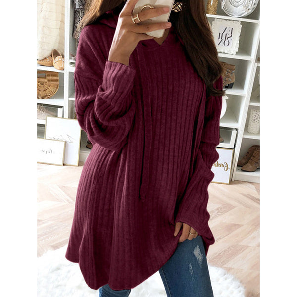 Irregular Solid Color Drawstring Long Sleeve Hoodie