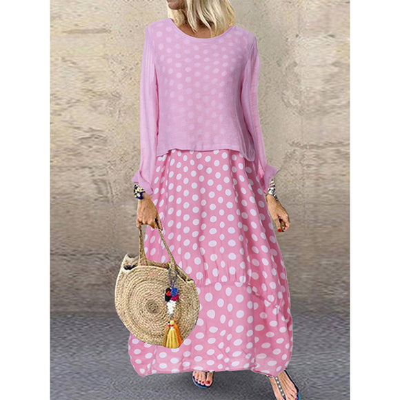 Polka Dot Round Neck Long Sleeve Dresses