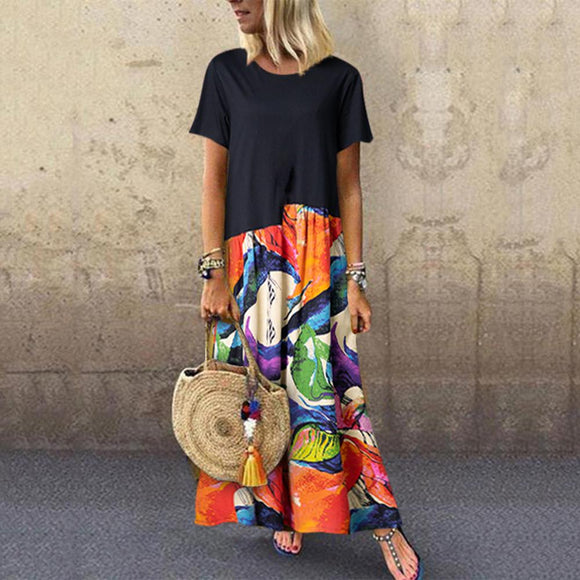 Women Summer Short Sleeve Women Printed Midi Dresses