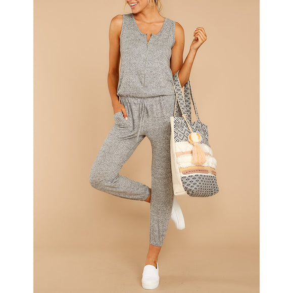 Solid Color Daily Sleeveless Jumpsuits
