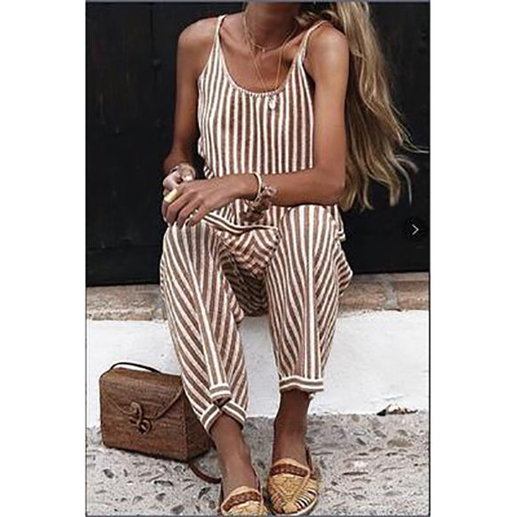 Sexy Sleeveless Striped Jumpsuit