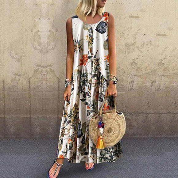 Elegant Sleeveless Printed Dress