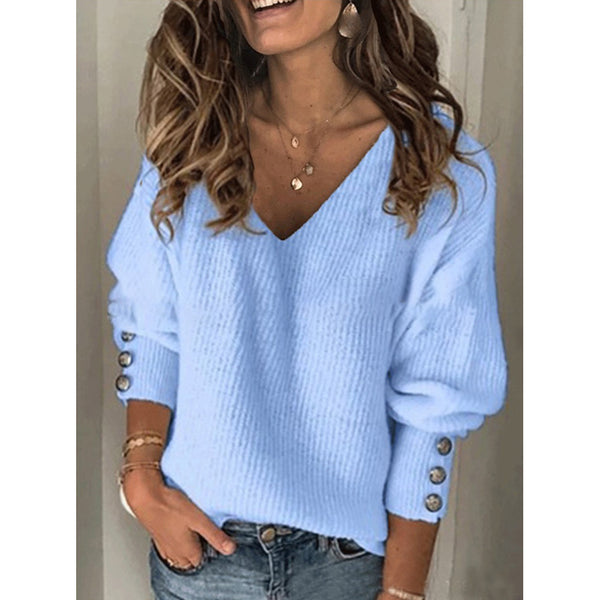 Fashion Women's Solid Color Knitted V-neck Loose Sweater