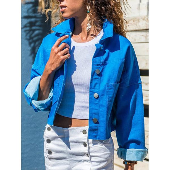 Women's Fashion Solid Color Buttoned Jacket