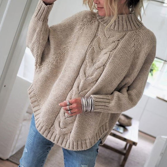 Women Solid Color Bat Sleeve Casual Sweaters