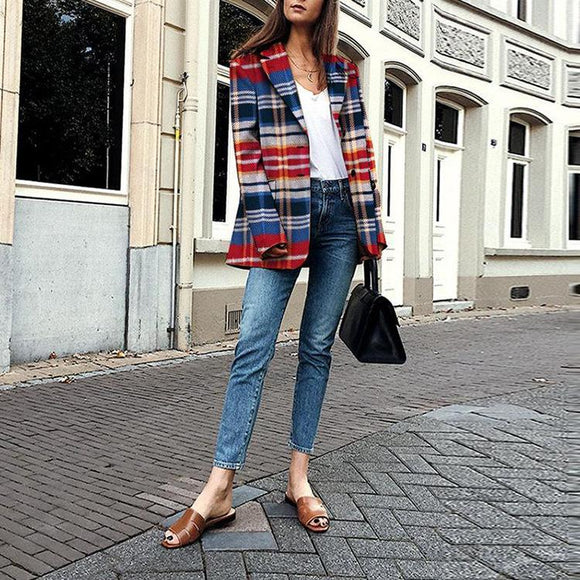 Fashion Casual Lapel Plaid Long Sleeve Coat