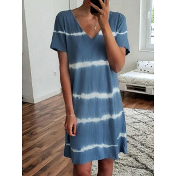 Summer Striped Printed Plus Size Dress