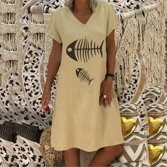 Casual Printed V-neck Short-sleeved Dress