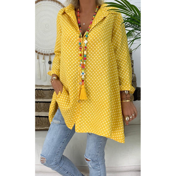 Spring/Summer Polka Dot Printed Plus Size Shirt