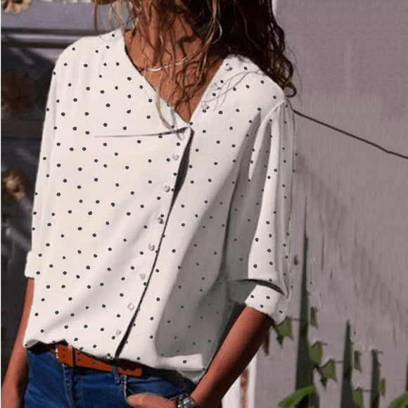 Polka Dot Irregular Diagonal Collar Long Sleeve Blouse