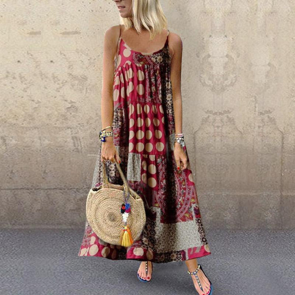 Plus Size Women's Casual Loose Print Sling Long Casual Dress