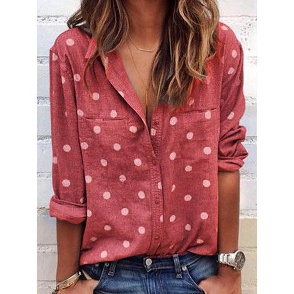 Casual Lapel Dot Blouse