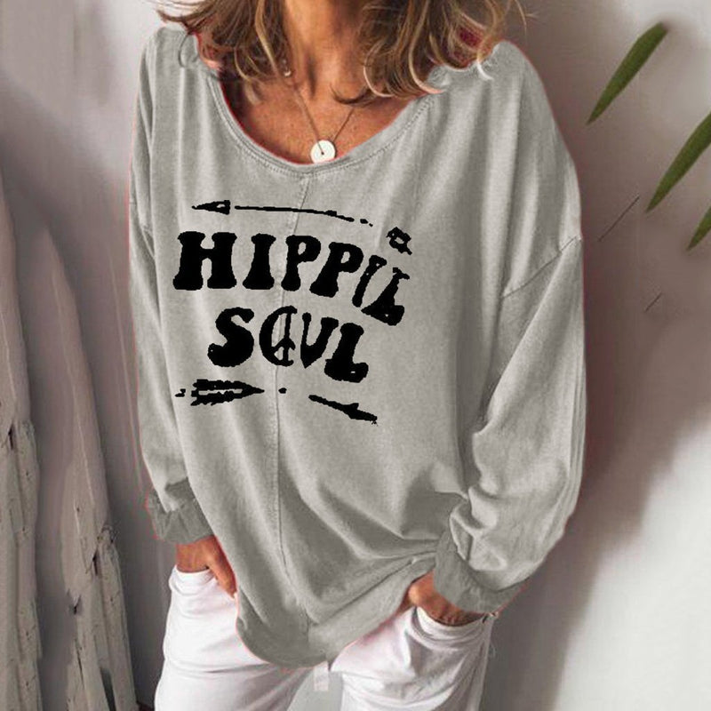 Long Sleeve V-neck Letters Printed Loose Wild Blouses