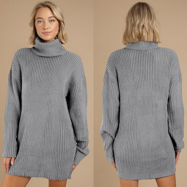 WomenTurtleneck Knitted Sweater Dress
