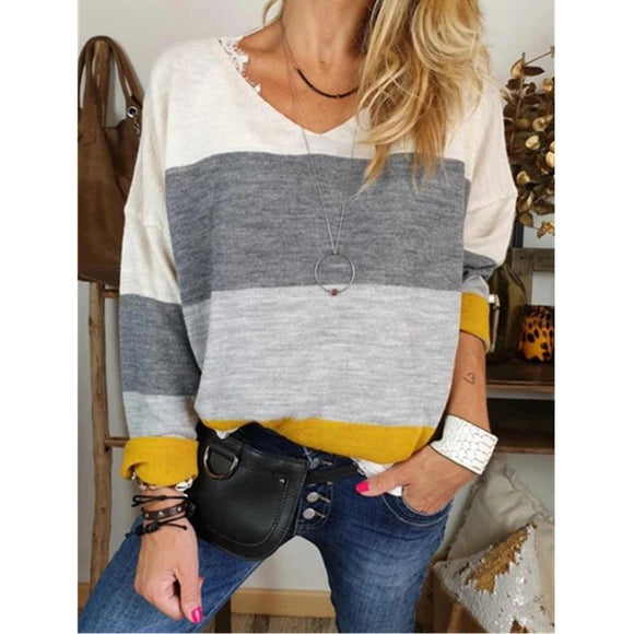 Print V-neck Long Sleeve Casual Blouse