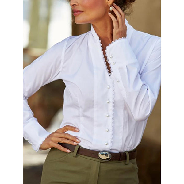 Elegant Plain Long Sleeve Blouses