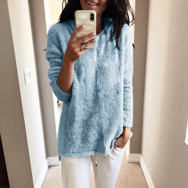 Fluffy Teddy Warm Sweatshirt Plus Size Long Sleeve Sweaters