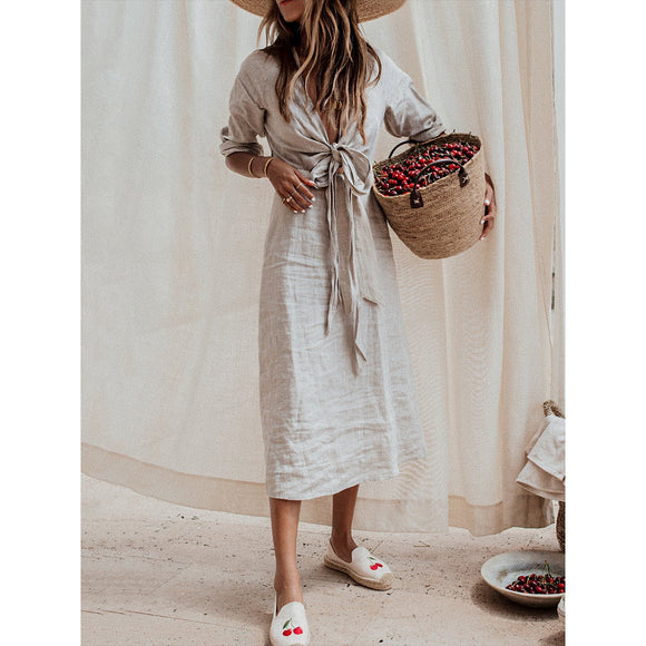 Gray Solid Linen Bandage Summer Dress