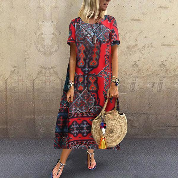 Casual  Printing Short Sleeves Maxi Dresses