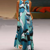 Plus Size Vintage Printed Split Sleeveless Maxi Dress