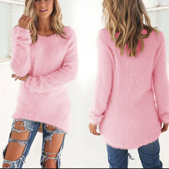 Women Casual Round Neck Solid Color Long Sleeve Sweaters