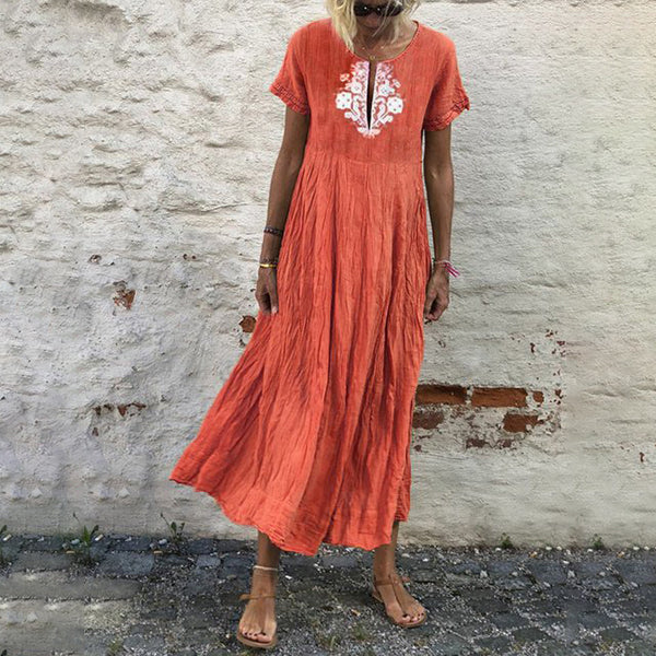 Summer Short Sleeve V-neck Long Dresses