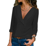 Women Casual Chiffon V Neck Tops