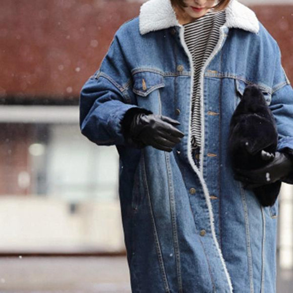 Fashion Turndown Collar Solid Denim Coats