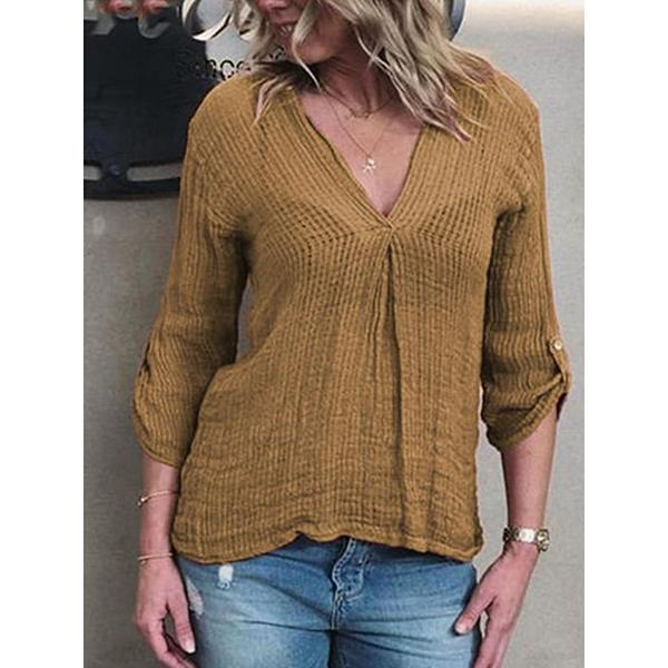 V Neck 3/4 Sleeve Plain Casual Blouses