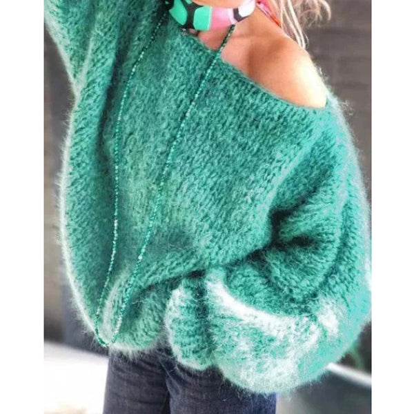 Green Solid Off Shoulder Knitted Casual Sweaters