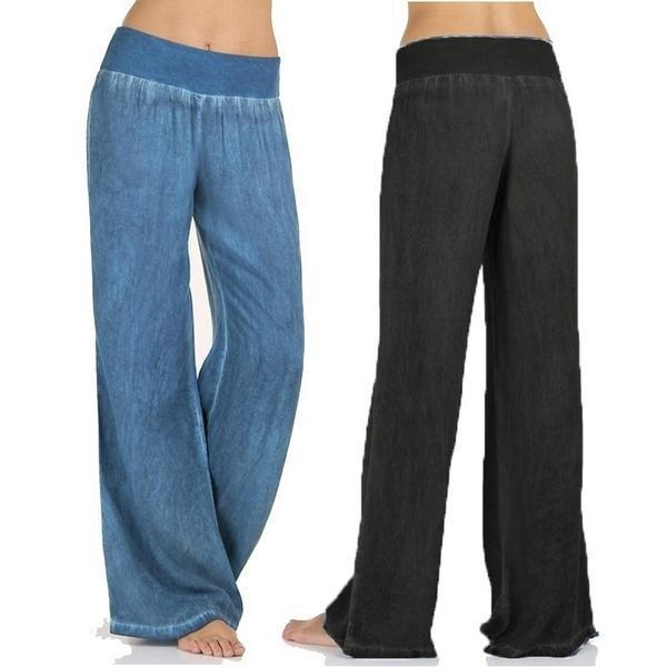Plus Size Loose Women Wide Leg Pants Elastic Waist Yoga Trousers