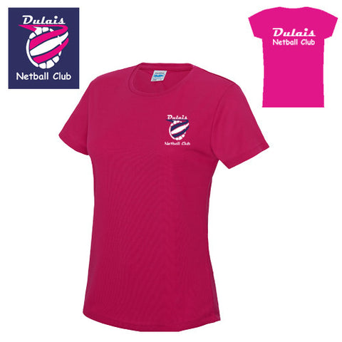 Dulais Netball: Ladies Cool Pink T-shirt