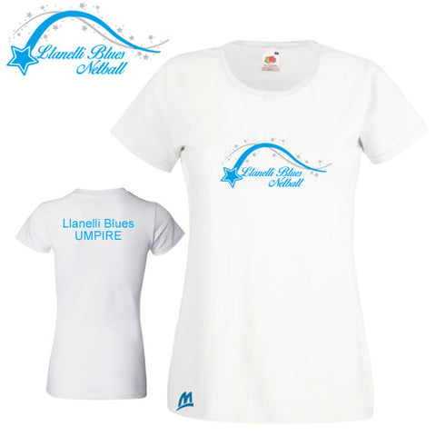 Llanelli Blues Netball: UMPIRE Fitted Cotton T-shirt