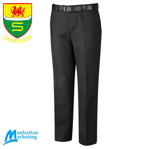 Y Strade Chweched Dosbarth: Flat Front Slim Fit Trousers